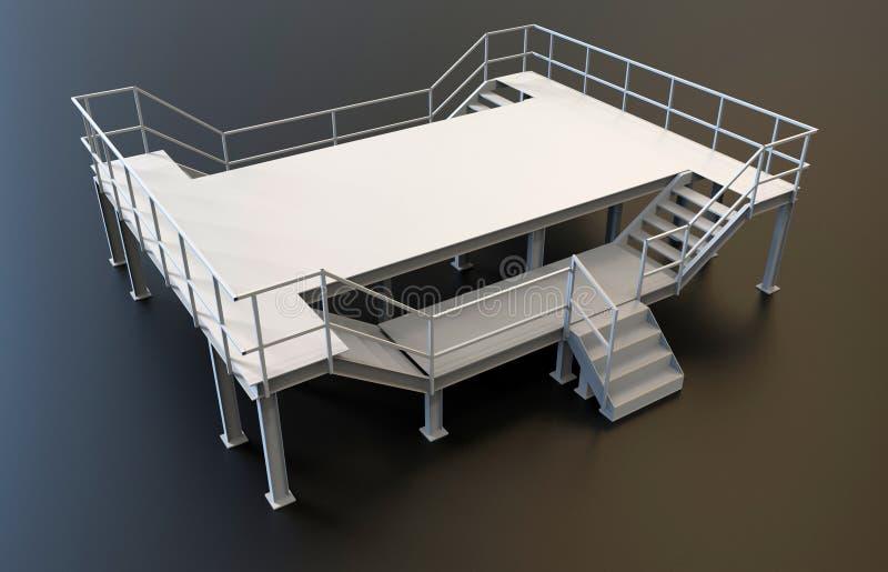 Metallisk plattform för tom fabrik royaltyfri illustrationer