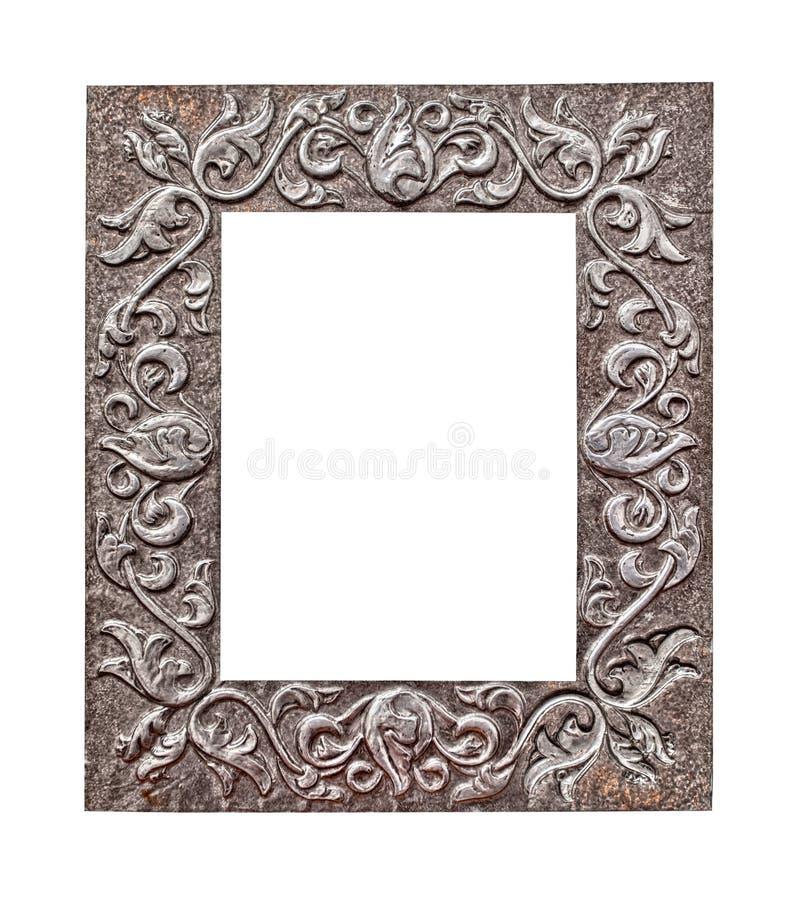 Metallisk ram på vit royaltyfria bilder