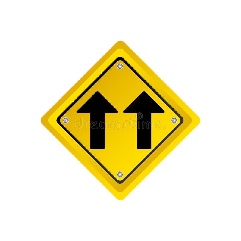 metallisk realistisk gul diamantformram samma tecken för trafik för riktningspilväg stock illustrationer
