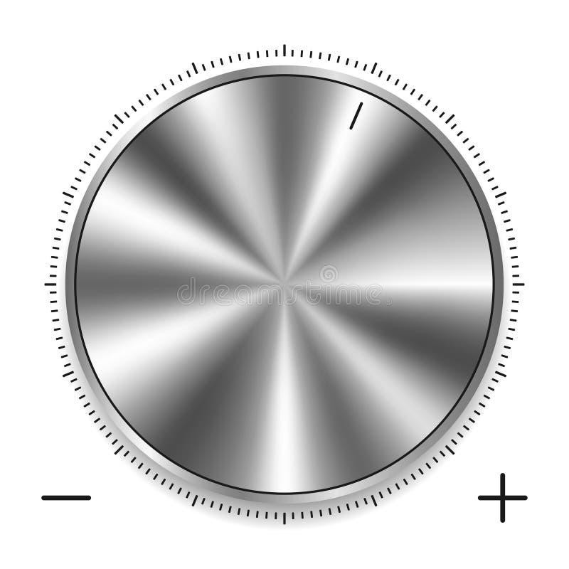 Metallisk rund knopp med den runda skalan Realistisk silver- eller kromstålknapp med cirkuläret som bearbetar för att kontrollera royaltyfri illustrationer