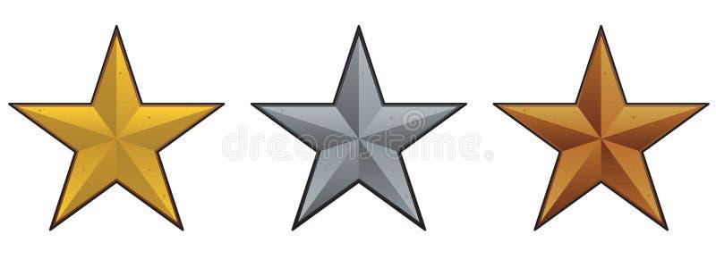 metallisk setstjärna vektor illustrationer