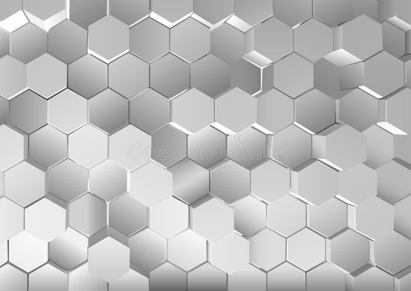 Metallisk sexhörnig bakgrund med effekt 3D vektor illustrationer