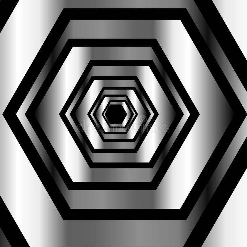 Metallisk sexhörnig illusionbakgrund vektor illustrationer