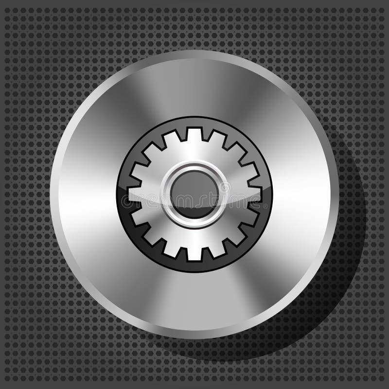 Metallisk symbol med kugghjulet på knopp stock illustrationer