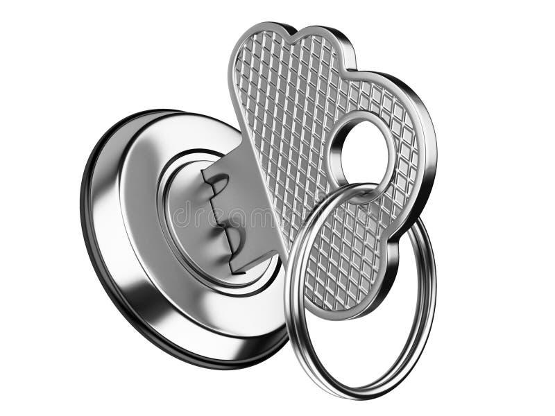 Metallisk tangent i nyckelhål begrepp för säkerhet för lagringsdatamoln stock illustrationer