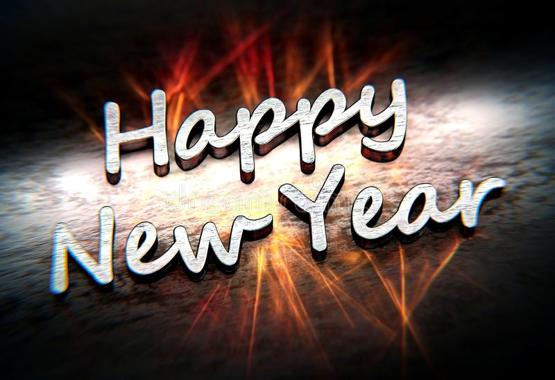 Metallisk text för lyckligt nytt år med orange caustics royaltyfri illustrationer