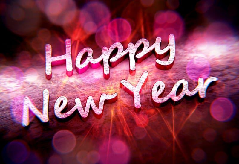 Metallisk text för lyckligt nytt år med rosa caustics och bokehs vektor illustrationer