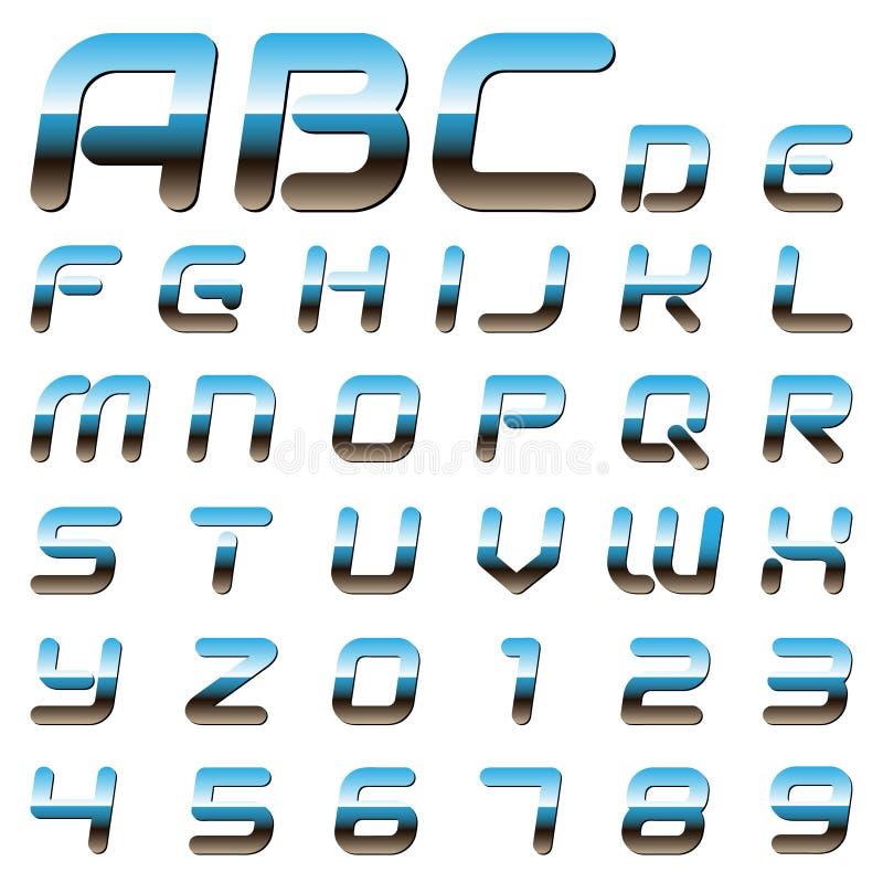 Metalliska alfabetbokstäver och siffror vektor illustrationer