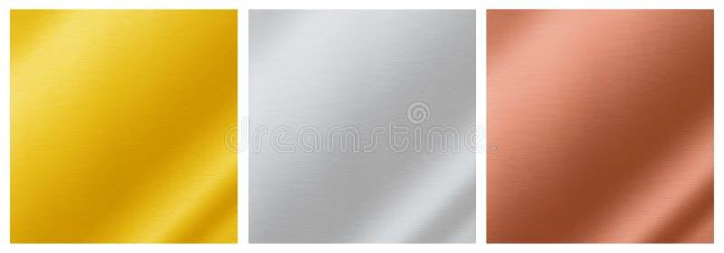 Metalliska bakgrundstexturer av guld, silver, brons, aluminium, arkivfoto