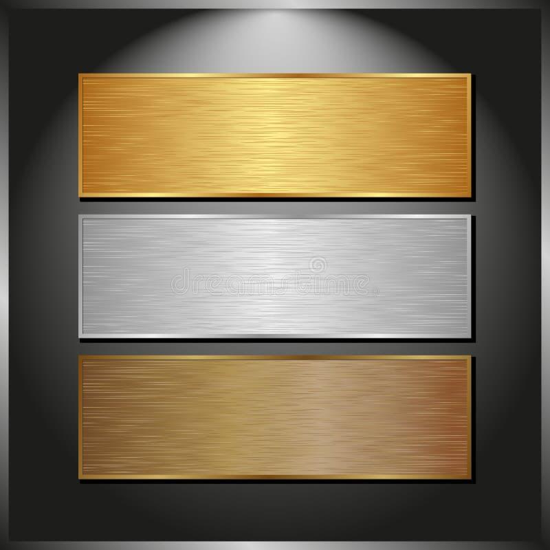 Metalliska baner royaltyfri illustrationer