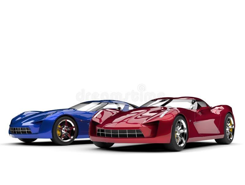 Metalliska blått och röda toppna sportbegreppsbilar stock illustrationer