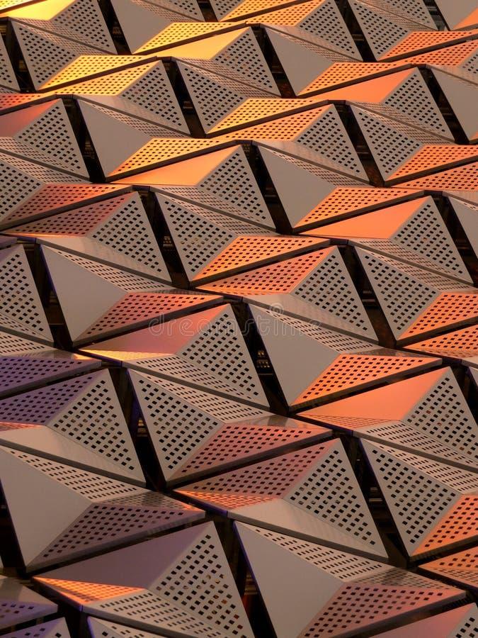 Metalliska geometriska cladding eller paneler i koppar- och guldfärger stock illustrationer