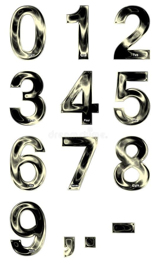 Metalliska glänsande siffror från noll till nio royaltyfri illustrationer