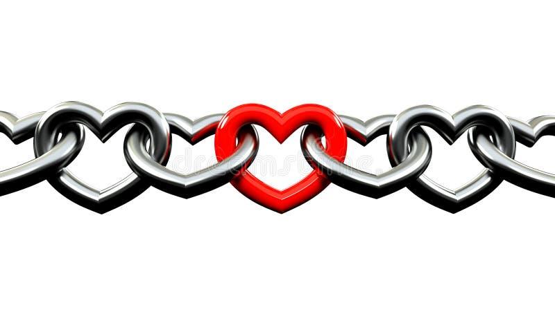 Metalliska kedjor som formades som en hjärta, låste med röd i mitt stock illustrationer