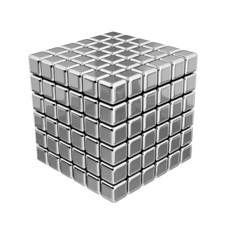 metalliska kuber 3D stock illustrationer