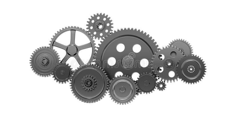 Metalliska kugghjul och kuggar royaltyfri illustrationer