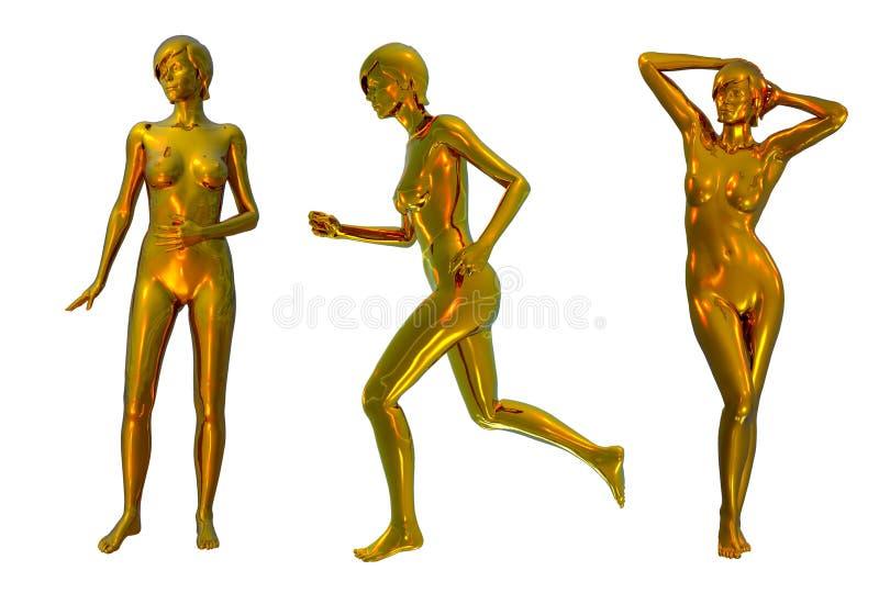 Metalliska Nakenstudier Tre För Guld Arkivfoto