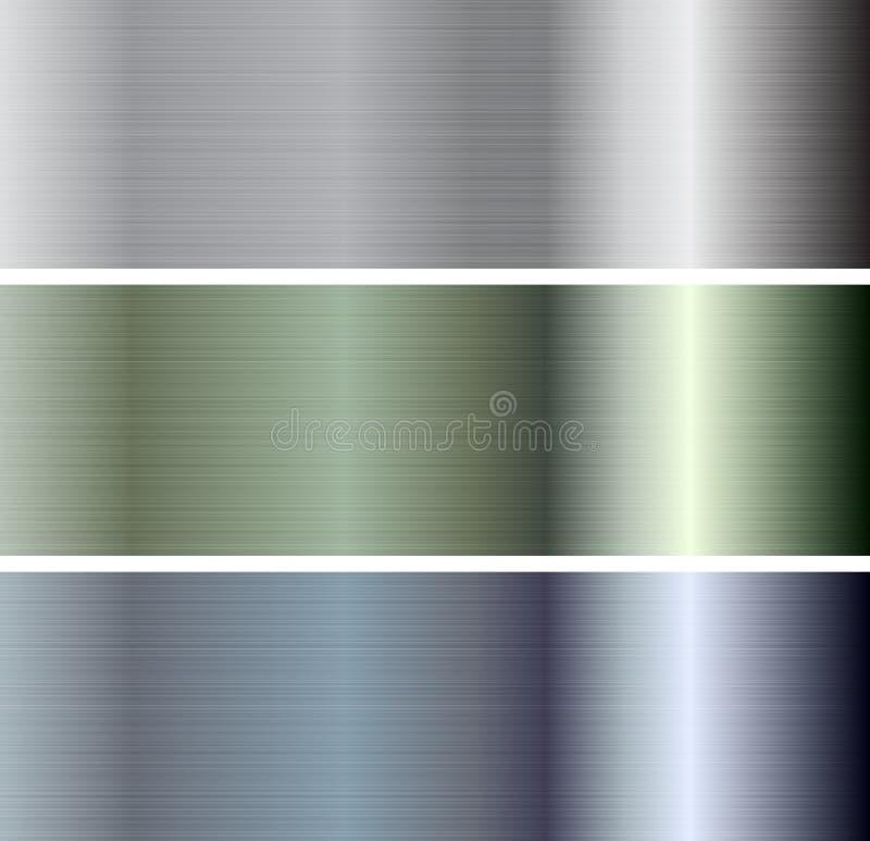Metalliska plattabaner för abstrakt vektor stock illustrationer