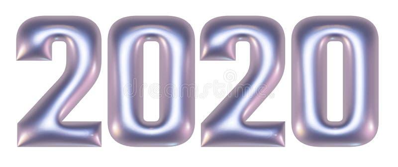 Metalliska pr?glade nummer, alfabet, nytt ?r 2020, illustration 3d royaltyfri bild