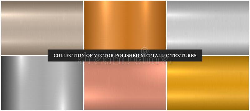 Metalliska släta texturer för vektor Ljusa bakgrunder för färglutningjärn Skinande borstad design royaltyfri illustrationer