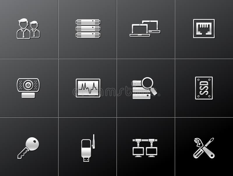 Metalliska symboler - mer datornät vektor illustrationer