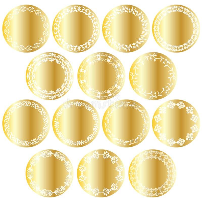 Metalliska utsmyckade guld- cirkeletiketter vektor illustrationer
