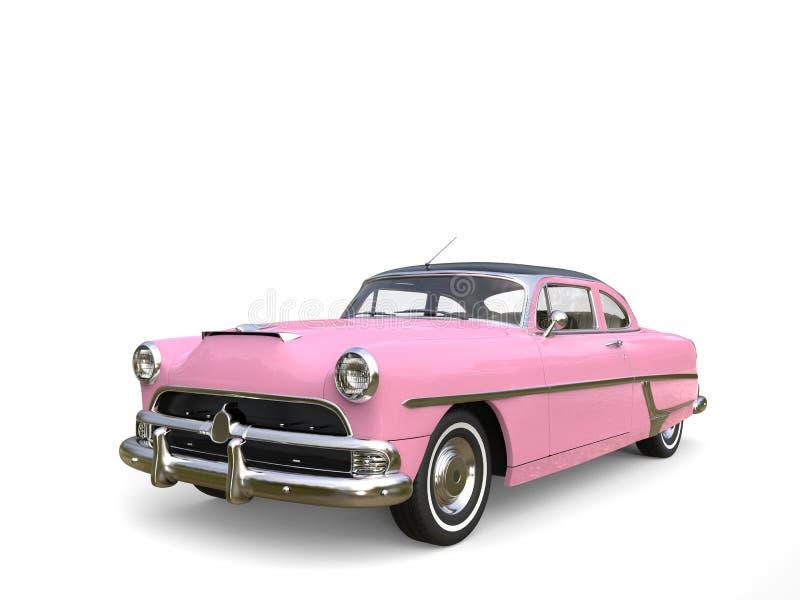 Metalliska varma rosa färger återställd tappningbil arkivfoto