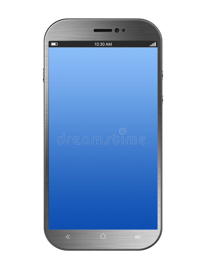 Metalliskt försilvra Smartphone som isoleras på vit royaltyfri bild
