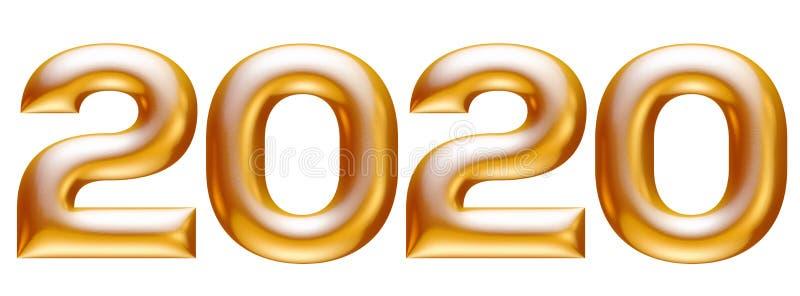 Metalliskt guld- alfabet, nytt år 2020, illustration 3d royaltyfri illustrationer