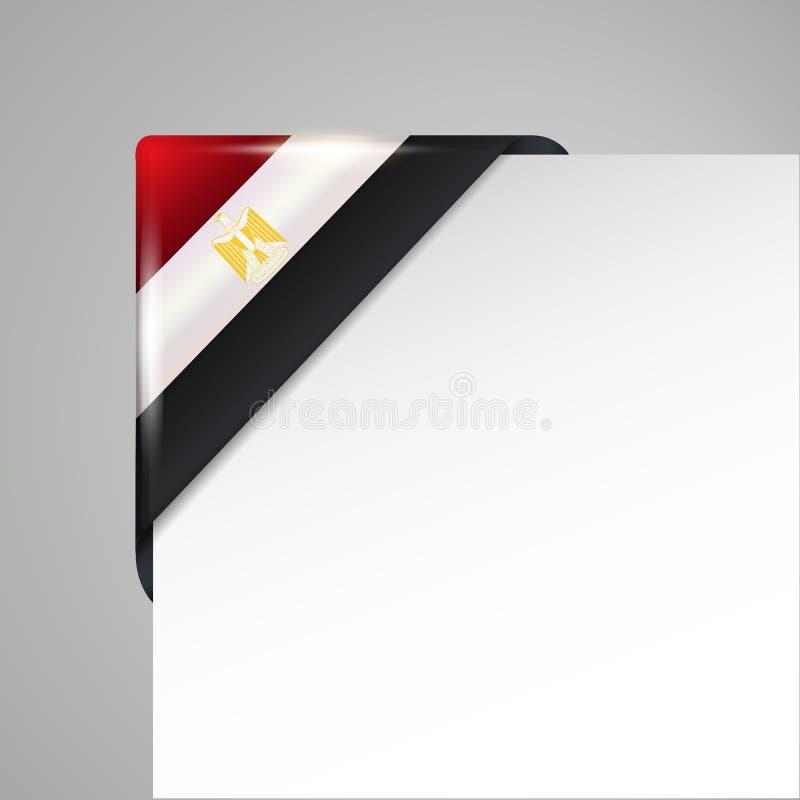 Metalliskt illustration för vektor för Egypten flagga hörn isolerad royaltyfri illustrationer