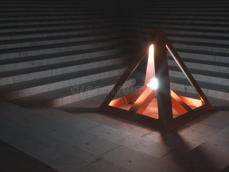 Metalliskt kulturföremål som ut överför ljust ljus stock illustrationer