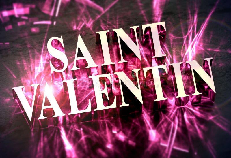 Metalliskt ord för `-helgonValentin ` i franskt med rosa småelakt - översättning: ` För dag för `-valentin` s, stock illustrationer