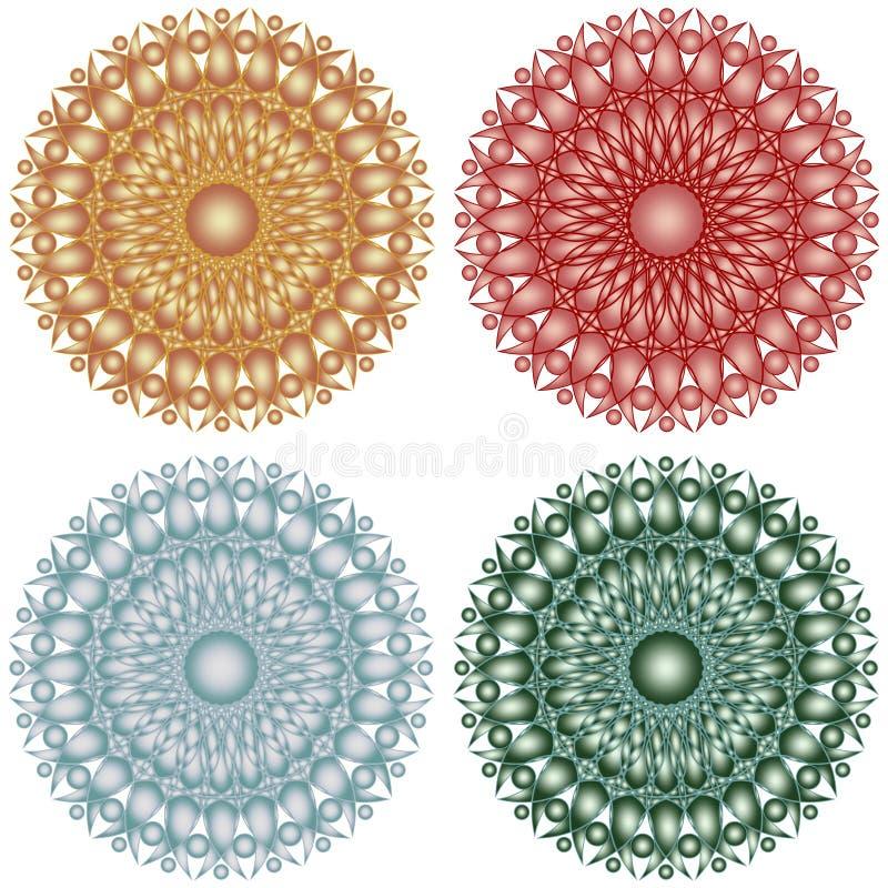Metalliskt snöra åt geometriska stjärnor för den mönstrade cirkeln royaltyfri illustrationer