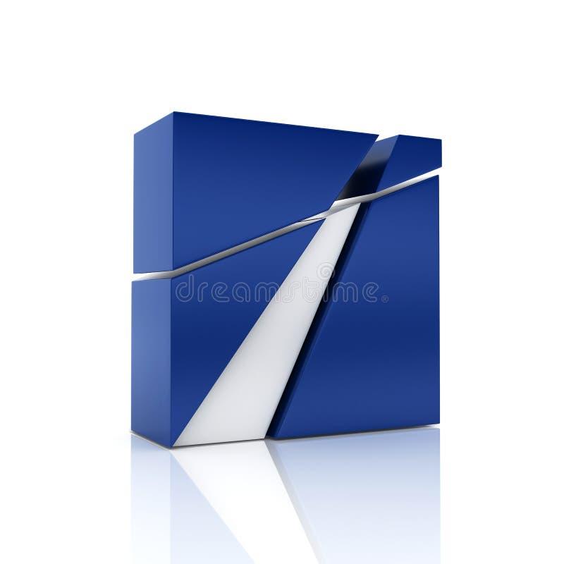 Metalliskt symbol för abstrakt blått med olika beståndsdelar stock illustrationer