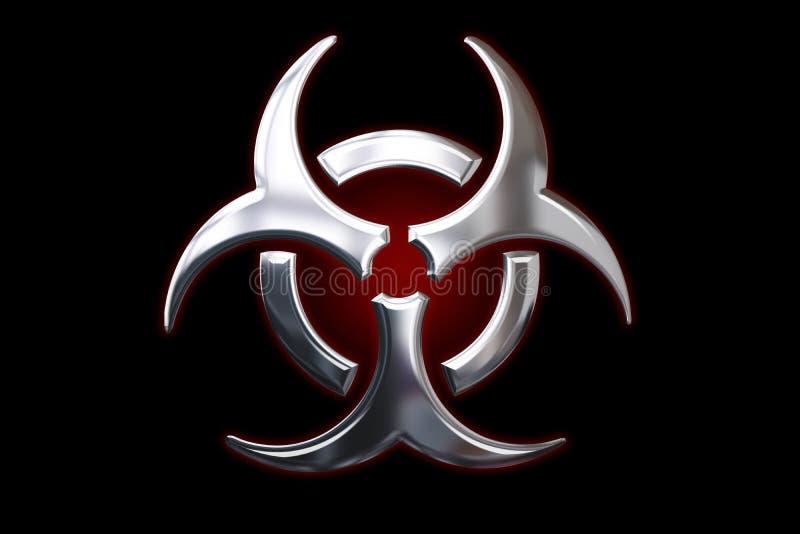metalliskt tecken för bio fara stock illustrationer