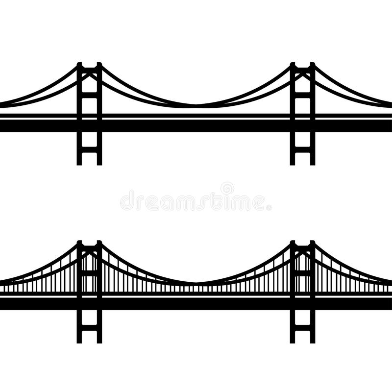 Metallkabelbrückeschwarzsymbol vektor abbildung
