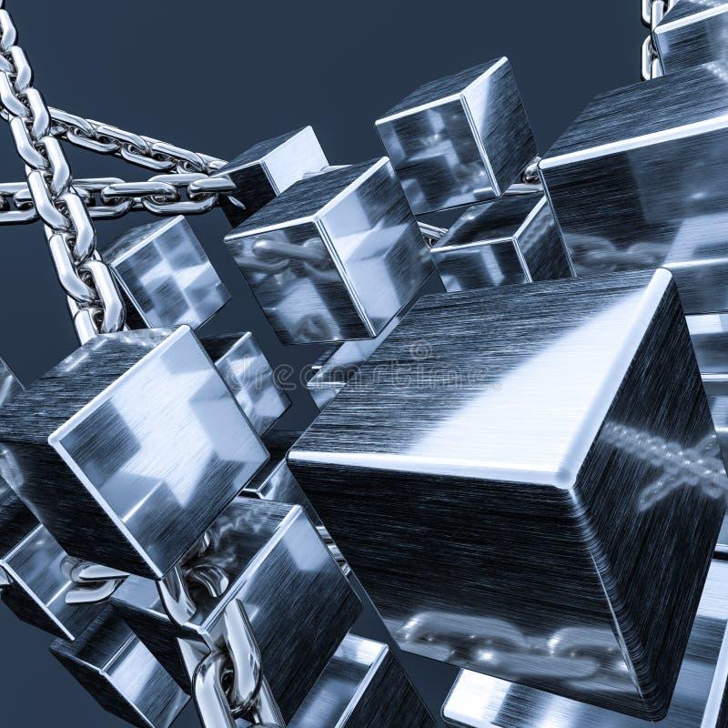 Metallkedje- och kubbakgrund, tolkning 3d stock illustrationer