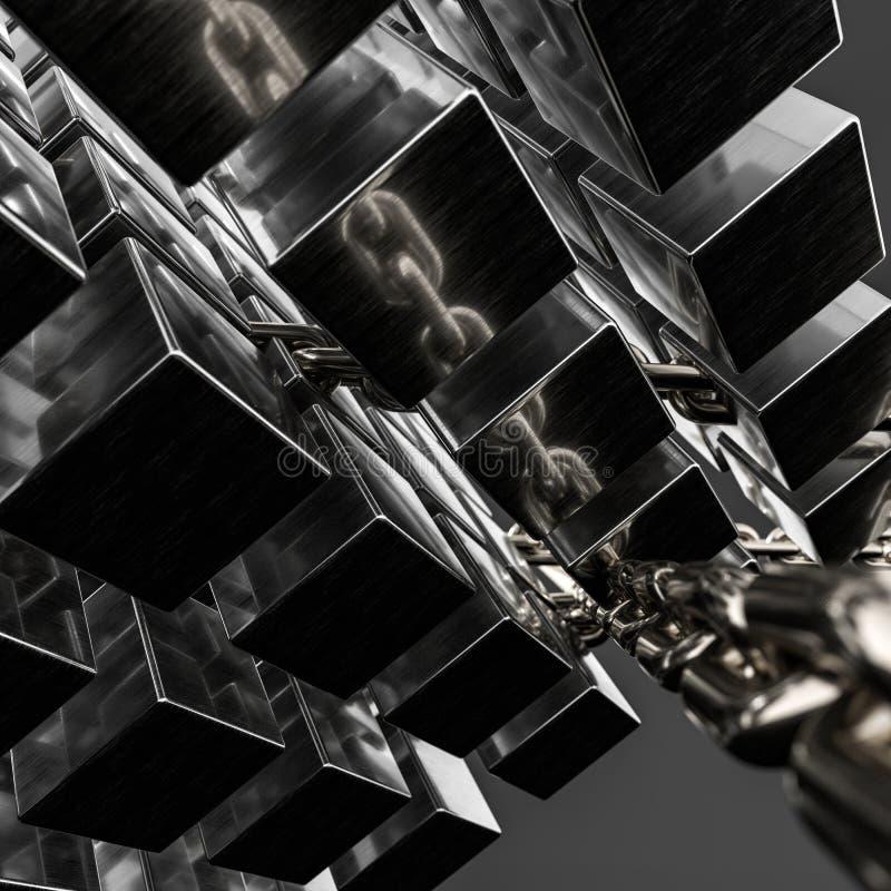 Metallkedje- och kubbakgrund, tolkning 3d vektor illustrationer