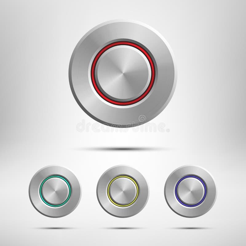 Metallknopfsatz lokalisiert auf grauem Hintergrund Realistisches Gestaltungselement des Vektors lizenzfreie abbildung