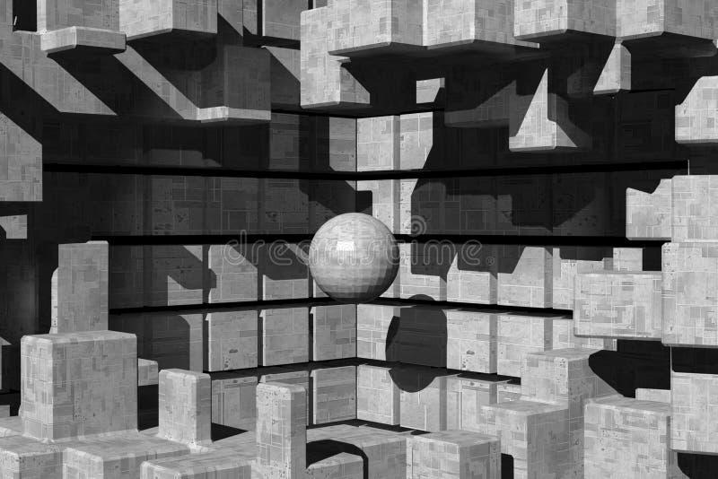 Metallkonstruktion med en få att sväva boll stock illustrationer