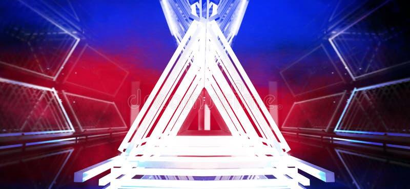 Metallkonstruktionen med en triangel markeras av ett nytt ljus, tjock rök, smog royaltyfria bilder