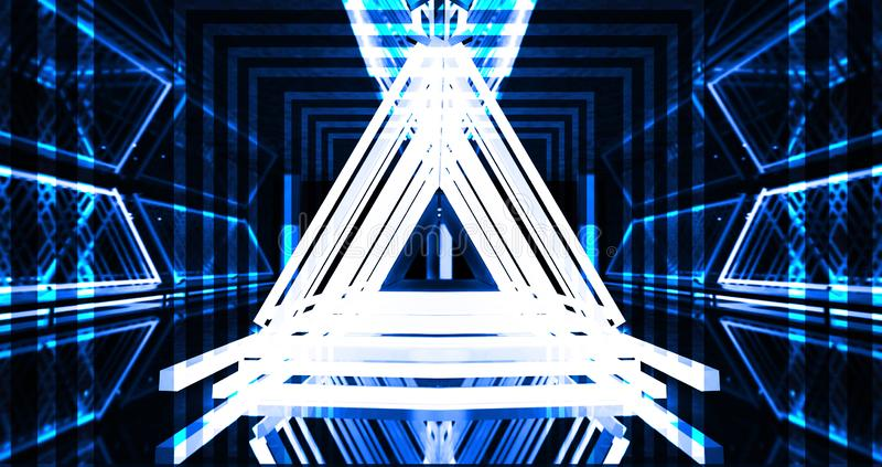 Metallkonstruktionen med en triangel markeras av ett nytt ljus, tjock rök, smog fotografering för bildbyråer