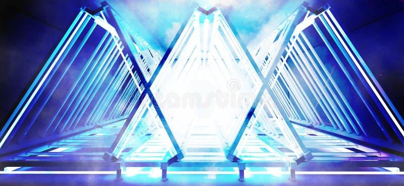 Metallkonstruktionen med en triangel markeras av ett nytt ljus, tjock rök, smog arkivfoton