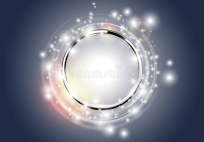 Metallkromcirkel med ljusa cirklar royaltyfri illustrationer