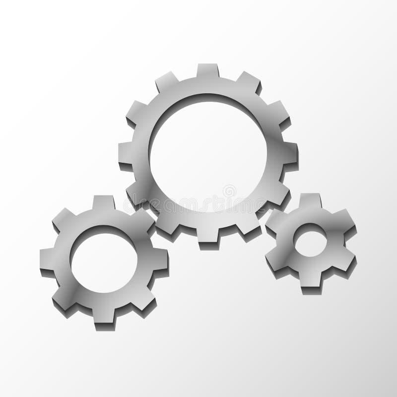 Metallkugghjul för vektor tre vektor illustrationer
