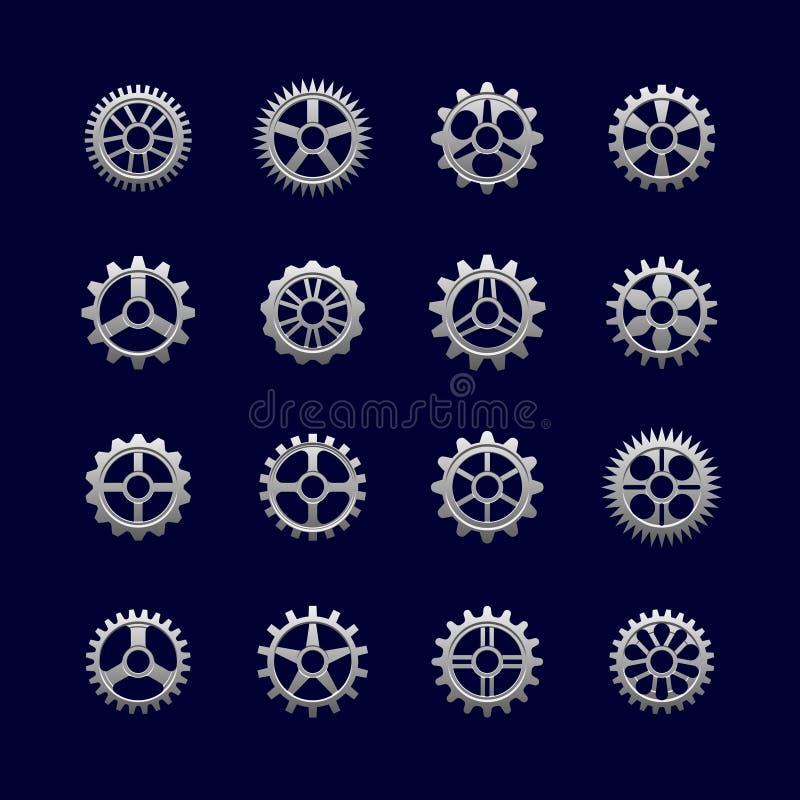 Metallkugghjul och kugghjul för överföring stock illustrationer