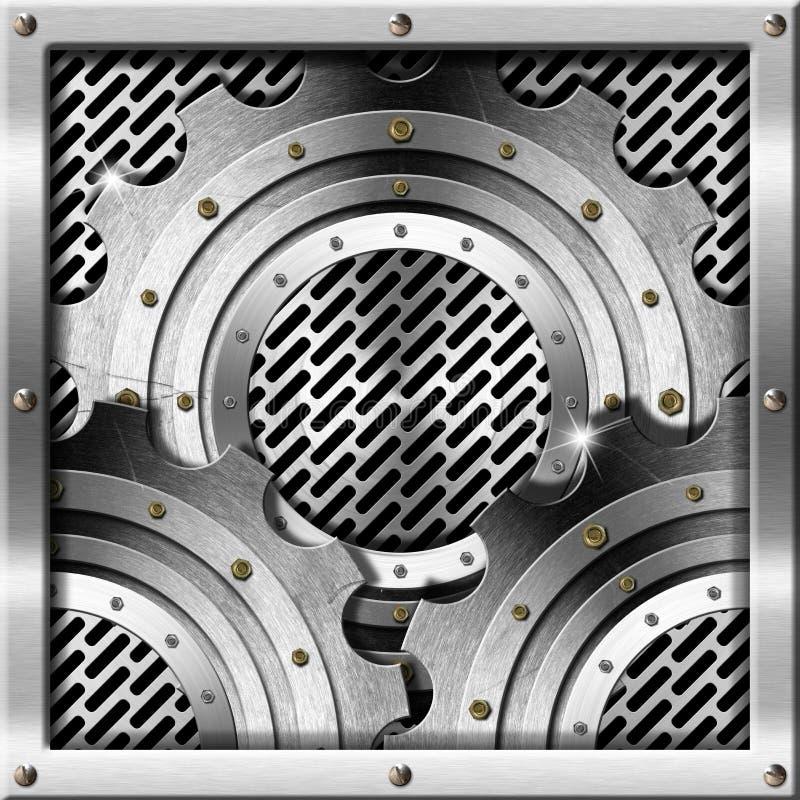 Metallkugghjul på metallrasterbakgrund vektor illustrationer