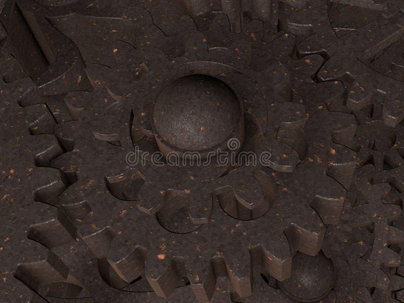 Metallkugghjulslut upp stock illustrationer