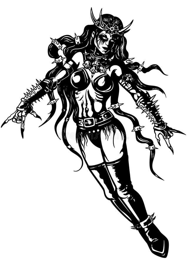 Metallmusikprinsessa stock illustrationer
