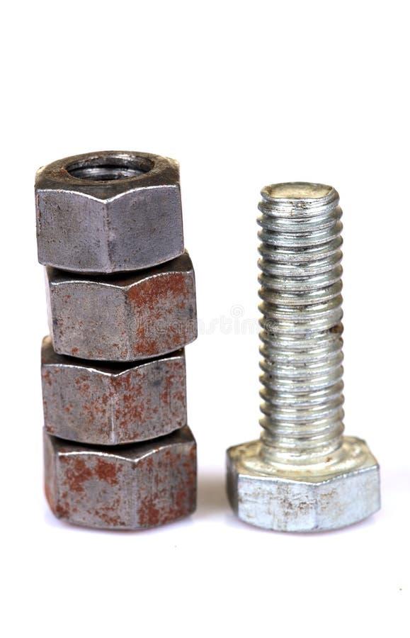 Metallnuts und -schraube lizenzfreies stockbild